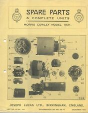 Morris Cowley 1931 Lucas CAV Rotax illustrated Spare Parts List No. CE 4A