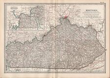1903 BRITANNICA ANTIQUE MAP USA KENTUCKY