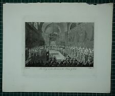 c1750 ANTIQUE LONDON PRINT ~ THE KING ON HIS THRONE HOUSE OF LORDS
