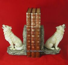 Winter Wolf Bookends Statue Wolves Book End Figurine Hand Painted Ornaments NEW