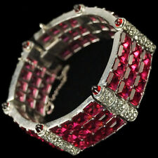 KTF Trifari 'Alfred Philippe' Pave and Invisibly Set Rubies Six Link Bracelet