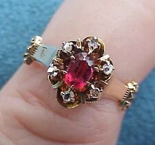 Stunning! Antique Victorian Gothic 14Kt Gold Rose Cut Diamond & Ruby 4 1/2 Ring