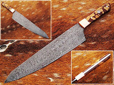 "CUSTOM MADE DAMASCU WALNUT WOOD RESIN,SOLID,COPPER BOLSTER 14""KITCHEN CHEF KNIFE"