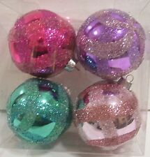 4 TURQUOISE HOT PINK PURPLE ICED SHATTER RESISTAN CHRISTMAS ORNAMENTS DECORATION