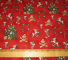 1 yd TREE TOYS on RED 100% Cotton Fabric WINDHAM PAPER DOLL CHRISTMAS #30860