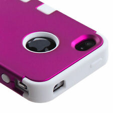 for iPhone 4 4G 4S -Hot Pink White Dual Armor Impact Hard&Soft Rubber Case Cover