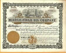 1901 Middle-Field Oil Company Stock Certificate New Jersey Nj