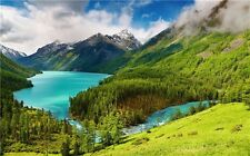 """Lake Mountains Forests Sky Waterfall Landscape Nature Art Poster 40""""x24"""" 015"""