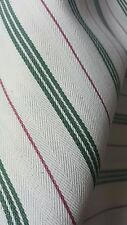 Six metres cotton canvas type ticking fabric with green and dark red stripes