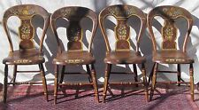 ANTIQUE WONDERFULLY PAINT DECORATED OHIO RIVER VALLEY SET OF FOUR CHAIRS