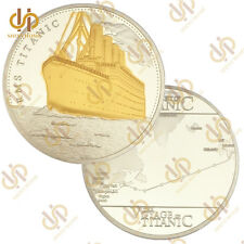 1912 The Voyage Titanic Ship and Travel Map Gold Plated&Clad Coin Rms Gold Bar