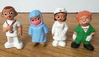 Vintage Spanish Mud People Collectible Figures Medical Clown Doctor Set of 4