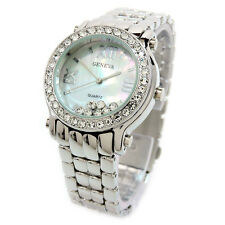 New Silver Geneva Crystal Bezel and Floating Crystal Dial Women's Jewelry Watch