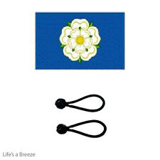 Yorkshire  White Rose Flag 5 x 3ft Fly From A Flag Pole.With FREE BALL TIES