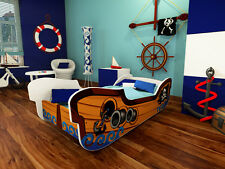 Kids Toddler Bed Frame with mattress PIRATE SHIP 140 x 70