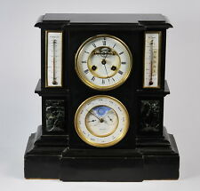 19c French Mantle clock, moonphase, triple date calendar, double thermometer
