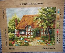 Needlework tapisserie toile pays jardin chaume cottage stitch timber frame