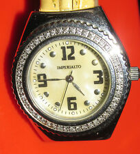 "SECONDHAND ""IMPERIALTO"" DIAMOND SET STAINLESS STEEL QUARTZ WATCH & LEATHER STRAP"