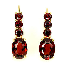 NATURAL ORANGE  RED MOZAMBIQUE GARNET YELLOW GOLD PLATED 925 SILVER EARRINGS