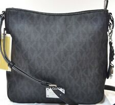 NWT MICHAEL KORS BLACK PVC SIGNATURE JET SET LARGE MESSENGER MSRP $198.00 #202M