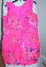 Vintage Lilia Honolulu Hot Pink Ruffel Print Short Dress Sz 14 Muu 1970's