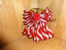 Vintage Ribbon Angel Handmade Holiday Christmas Tree Ornament Red White Stripe