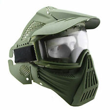 Tactical Airsoft Painball CS War Full Face Gas Goggles Protection Mask Green