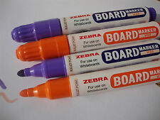 4 x ZEBRA LARGE WHITEBOARD DRY WIPE MARKER PENS BULLET TIP - VIOLET & ORANGE