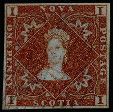Canada Nova Scotia 1853 1d Red Brown SC# 1. Superb Used. APS Sert. SCV $650