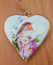 New Vintage Shabby Chic Robin Bird Metal Heart Hanging Decoration Floral Gift