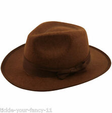 BROWN INDIANA JONES WESTERN FEDORA EXPLORERS HAT FREDDY HALLOWEEN FANCY DRESS