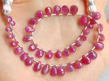 Natural Pink Sapphire Faceted Pear Briolette Gemstone Beads (FS002)