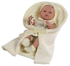 Muñeco bebe recien nacido vestido beig toquilla muñeca 42 cm vinilo. En caja