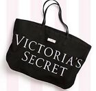 NWT~Victoria's Secret Black Canvas Pink VS Logo Bow X-large Tote Gym Beach Bag