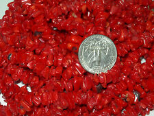 54 IN STRAND OF DEEP RED CORAL CHIP BEADS BAMBOO CORAL CHIP BEADS RED CORAL