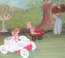CROCHET FASHION DOLL PATTERN-ICS DESIGNS-267 LITTLE RED WAGON & RACE CAR