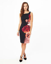 PHASE EIGHT NICOLETTA BLACK RED FLORAL JERSEY FITTED PENCIL DRESS SIZE 12 BNWT