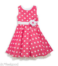RARE EDITIONS 3 - 4 yrs old Pink/ White Polka with Flower Belt Girls Dress - New