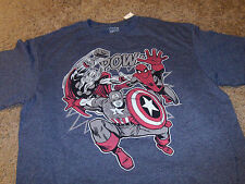 Captain America Mens SK Marvel Comics Spider-Man Thor Blue T-Shirt  Medium M