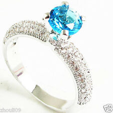 NEW size 7 Exquisite blue Topze 925 Silver Glod Filled 7ct Ring Gift