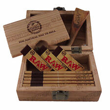 RAW Wooden Rolling Storage Box Gift Set Classic Smoking Slim Papers Barrel Tips