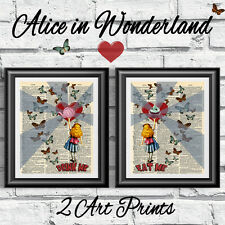 ORIGINAL 2 ART PRINTS ON ANTIQUE DICTIONARY BOOK PAGES Alice in Wonderland Decor