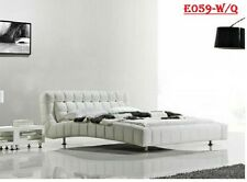 NEW MODERN QUEEN SIZE CREAMY WHITE PU LEATHER BED FRAME