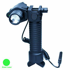 Retractable Rifle Foregrip Bipod with Green Laser Sight - CREE LED Flashlight