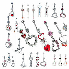 Wholesale Package 30pcs Surgical Steel Hearts Theme Dangling Belly Button Ring