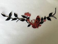 Sew on & iron on  patches(butterfly & flower vine-red and black)