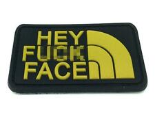 Hey F*** Face PVC Airsoft Patch Gold