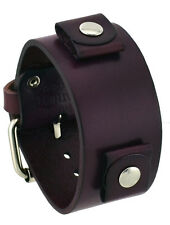Nemesis GB-P Women's Purple Wide Leather Cuff Wrist Watch Band
