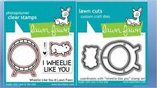 Lawn Fawn Photopolymer Clear Stamps-5ct + Dies ~ WHEELIE LIKE YOU ~LF838, LF839