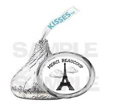 108  kiss labels EIFFEL TOWER FRANCE MERCI BEAUCOUP FRENCH BIRTHDAY PARTY FAVOR